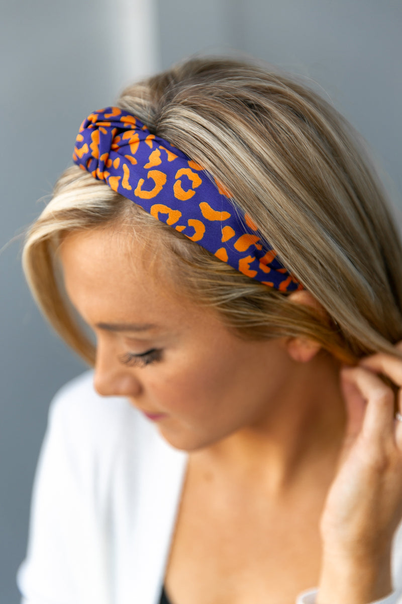 "The ""Hard To Top"" Headband In Navy - Gameday Couture"