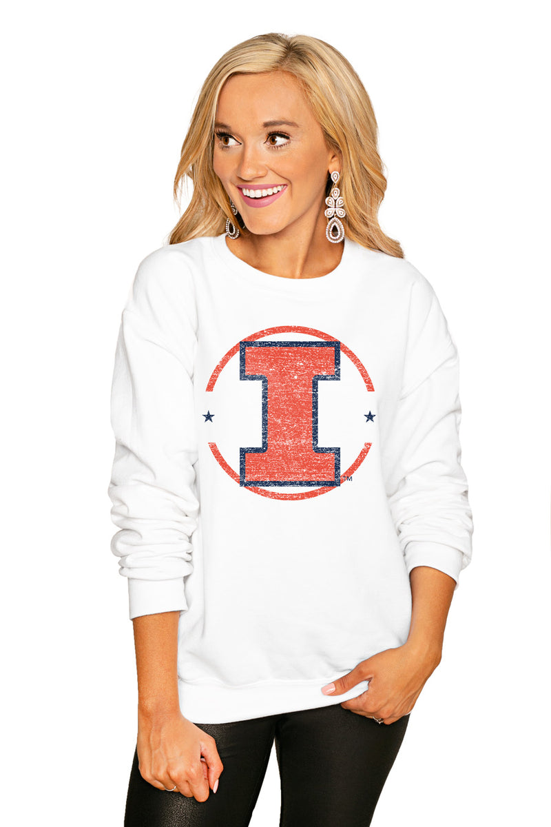 "ILLINOIS FIGHTING ILLINI ""END ZONE"" PERFECT COZY CREW SWEATSHIRT - Gameday Couture"