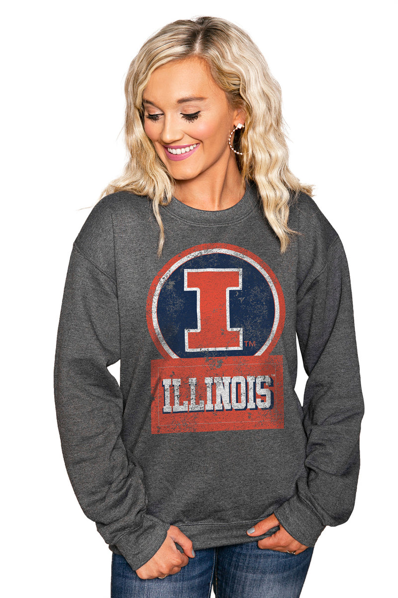 "ILLINOIS FIGHTING ILLINI ""GOOD VIBES"" Perfect Crew Sweatshirt - Gameday Couture"
