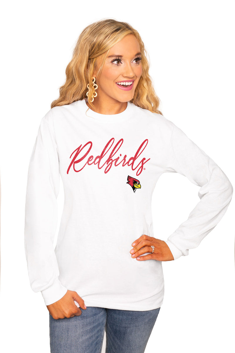 "Illinois State Redbirds ""Win The Day"" Luxe Boyfriend Crew Tee - Gameday Couture"