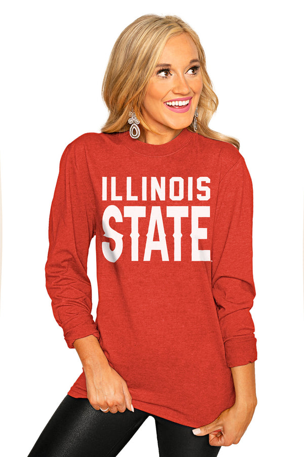 "Illinois State Redbirds ""Go For It"" Luxe Boyfriend Crew Tee - Gameday Couture"