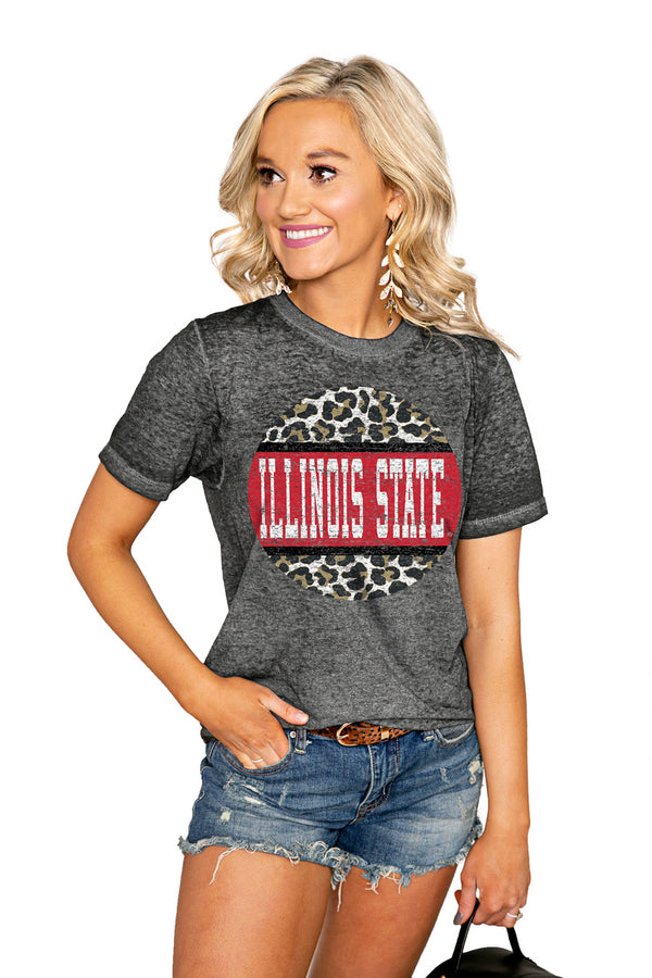 "ILLINOIS STATE REDBIRDS ""SCOOP & SCORE"" ACID WASH BOYFRIEND SHORT SLEEVE TEE - Shop The Soho"