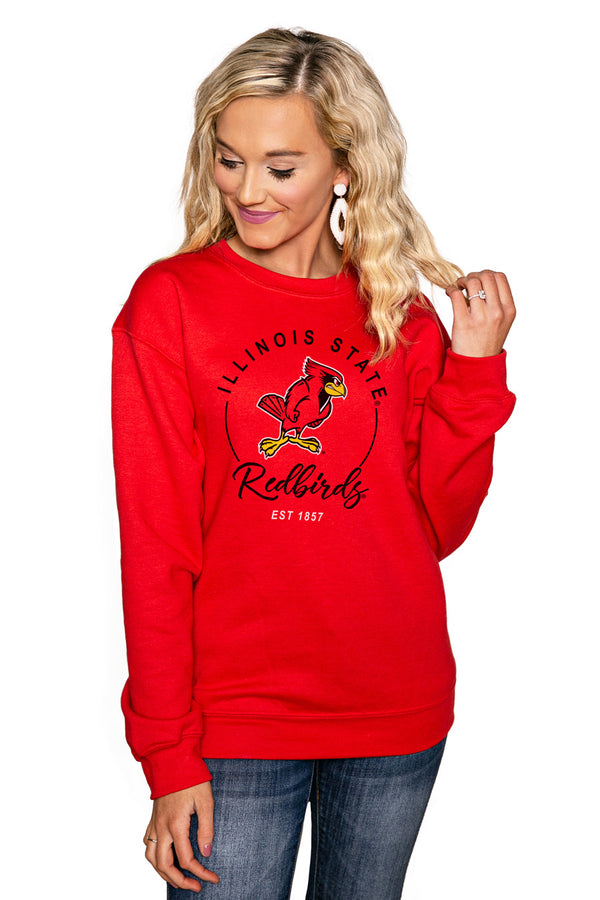 "ILLINOIS STATE REDBIRDS ""FOR THE HOME TEAM"" Perfect Crew Sweatshirt - Gameday Couture"