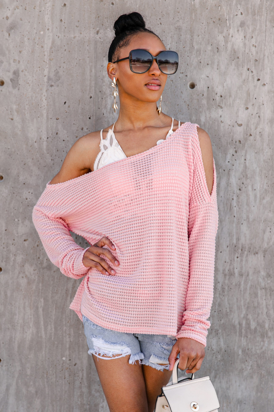 "The ""In Your Dream"" Long Sleeve Cold Shoulder Sweater - Shop The Soho"