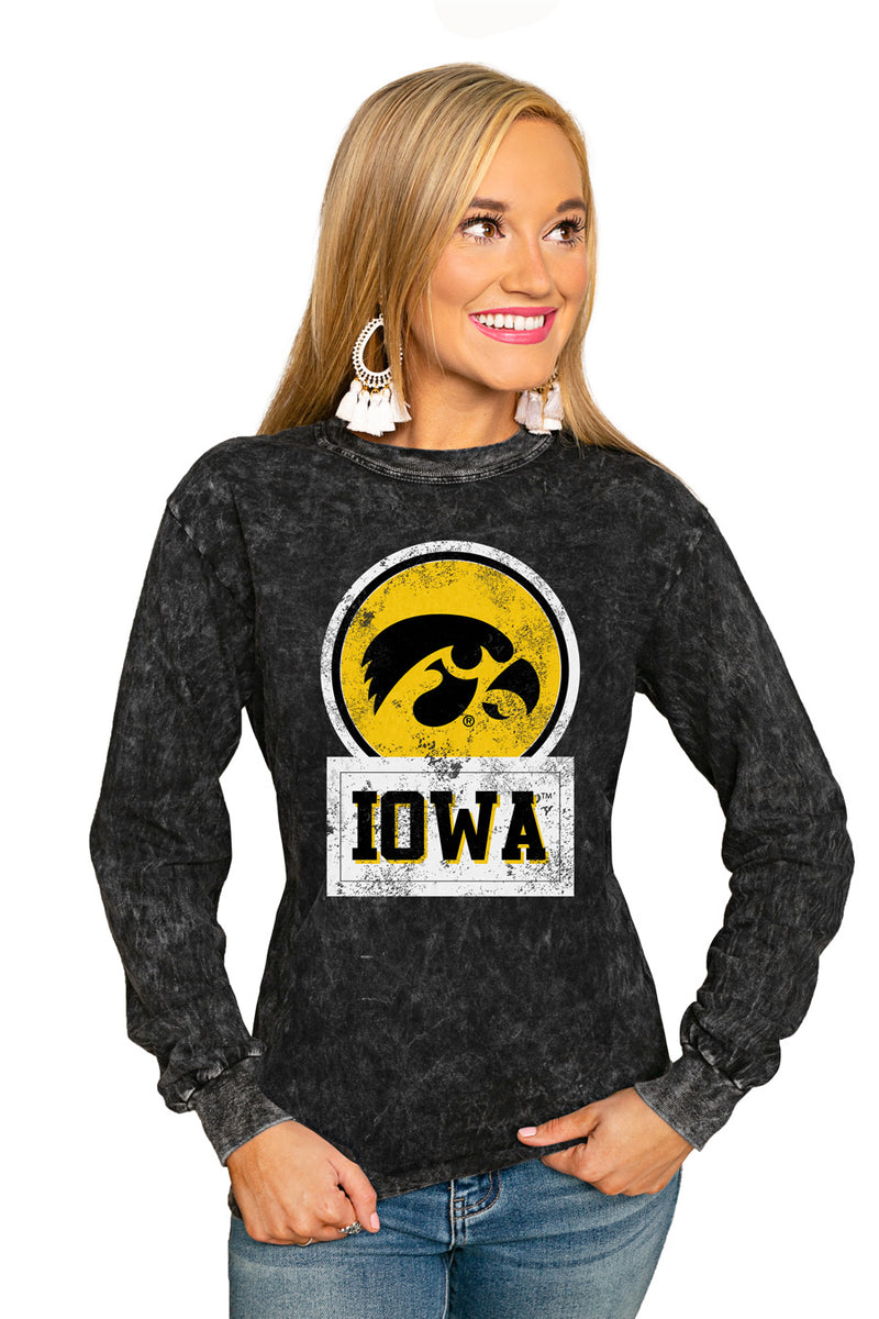 "IOWA HAWKEYES ""GOOD VIBES"" RETRO MINERAL WASH CREW - Gameday Couture"