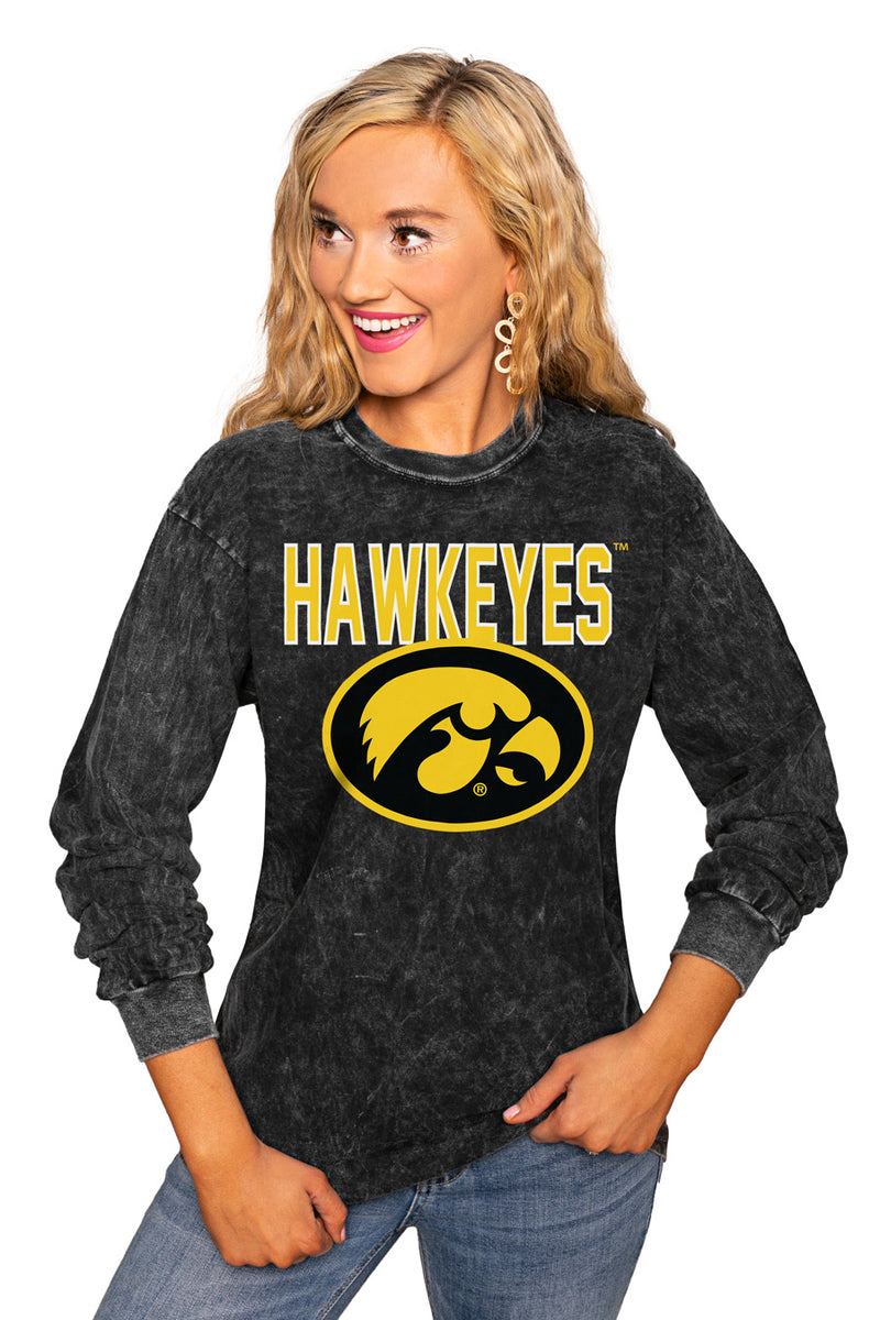 "Iowa Hawkeyes ""Fourth Down"" Retro Mineral Wash Crew - Gameday Couture"