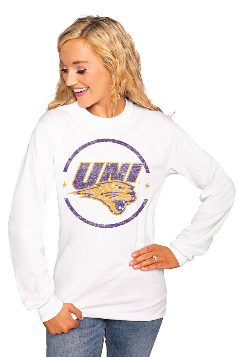 "NORTHERN IOWA PANTHERS ""END ZONE"" Luxe Boyfriend Crew Tee - Gameday Couture"