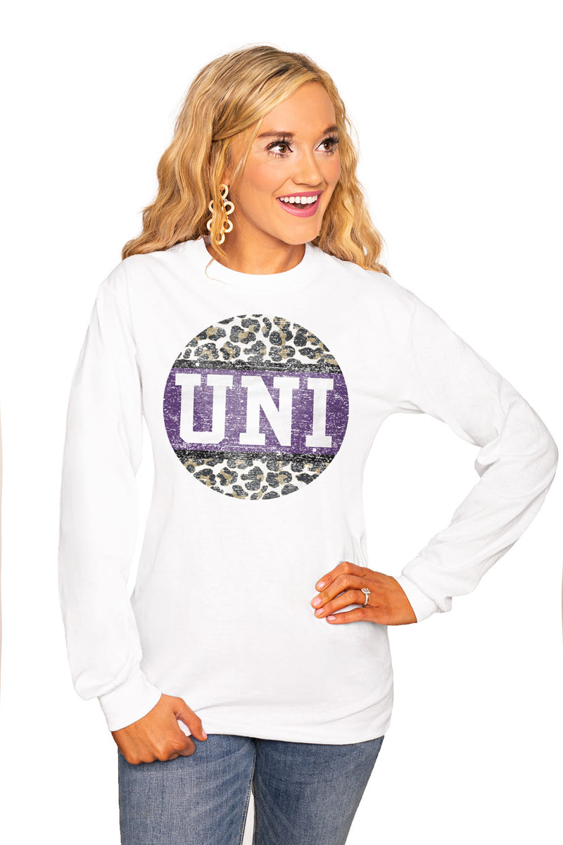 "NORTHERN IOWA PANTHERS ""SCOOP & SCORE"" Luxe Boyfriend Crew Tee - Gameday Couture"