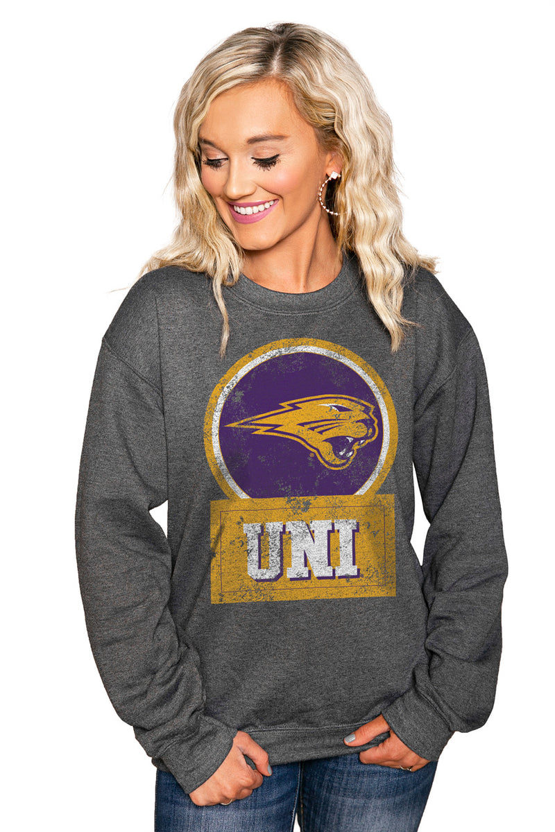 "NORTHERN IOWA PANTHERS ""GOOD VIBES"" Perfect Crew Sweatshirt - Gameday Couture"