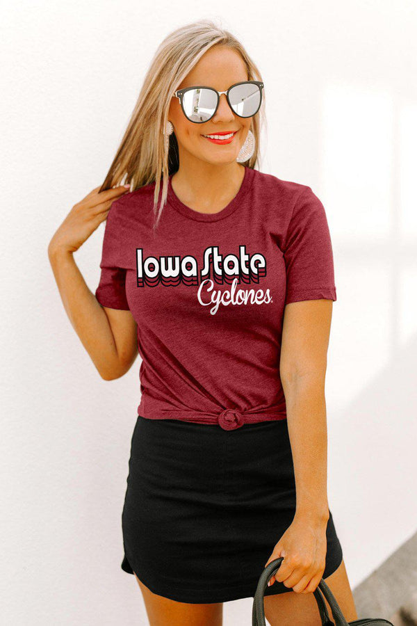 "Iowa State Cyclones ""Throwback Varsity Vibes"" Boyfriend Top - Shop The Soho"