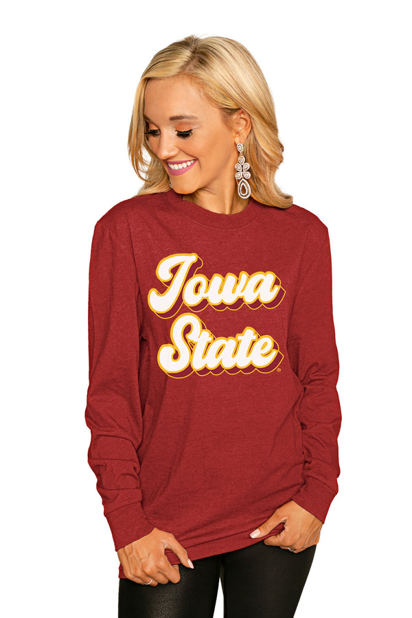 "Iowa State Cyclones""Game Plan"" Luxe Boyfriend Crew Tee - Shop The Soho"