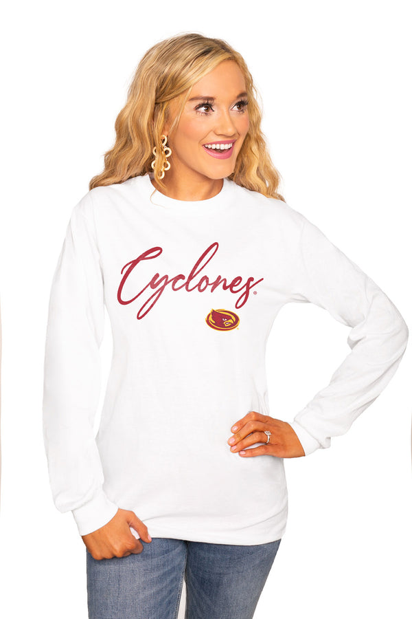 "Iowa State Cyclones ""Win The Day"" Luxe Boyfriend Crew Tee - Shop The Soho"