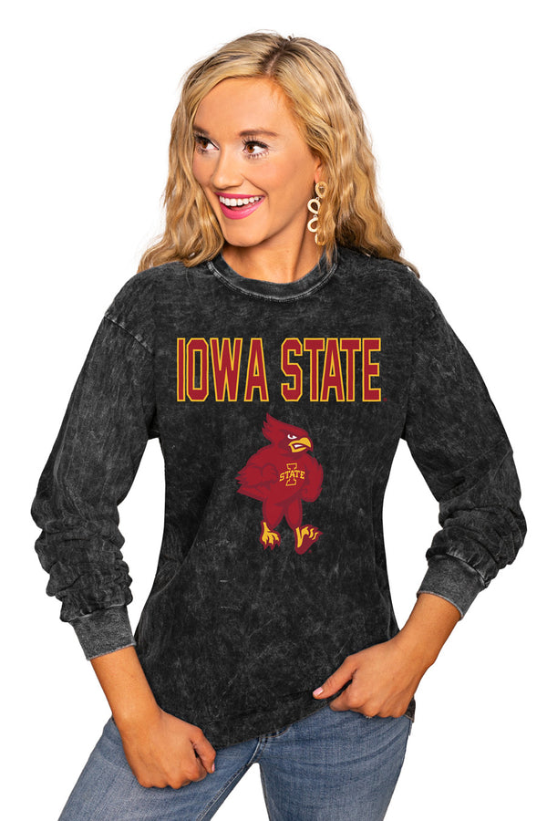 "Iowa State Cyclones ""Fourth Down"" Retro Mineral Wash Crew - Gameday Couture"