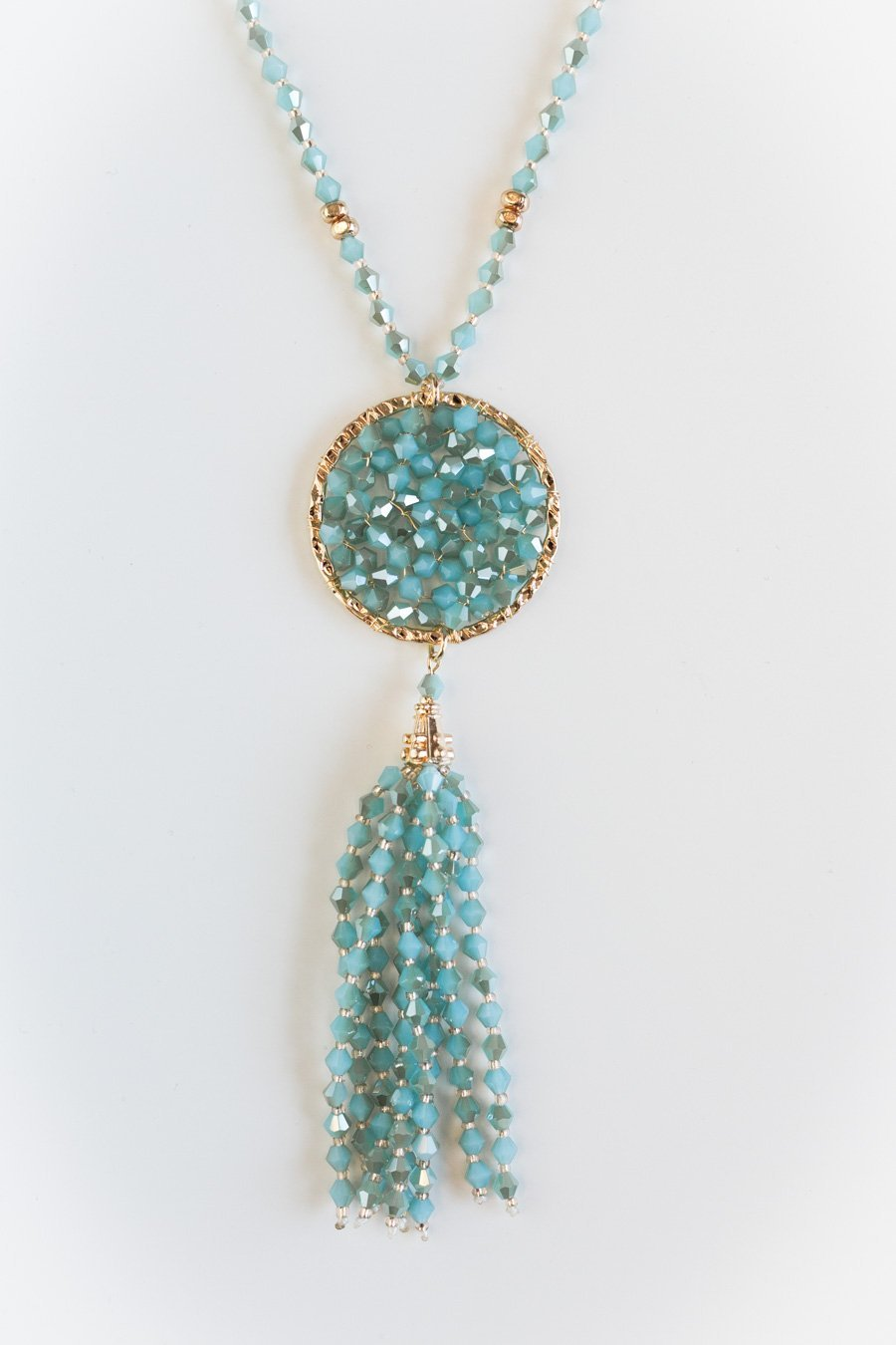 The Beaded Bliss Pendant in Blue