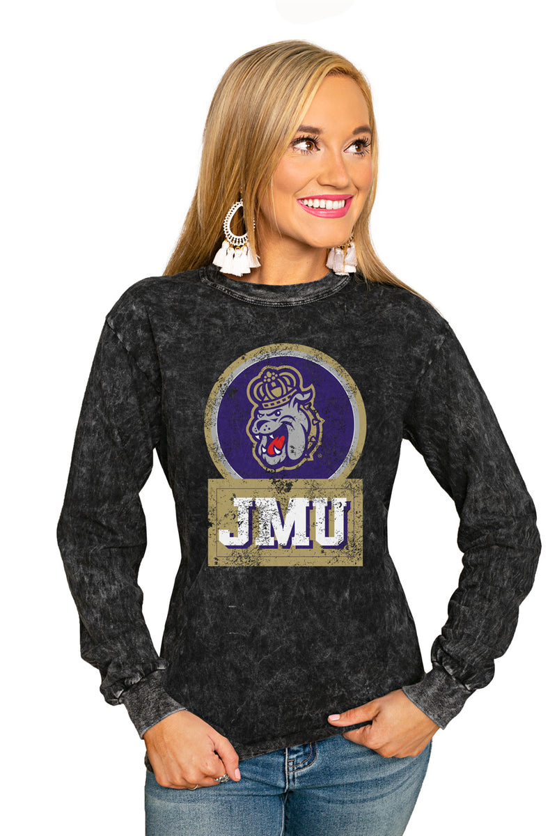 "James Madison Dukes ""Good Vibes"" Retro Mineral Wash Crew - Gameday Couture"