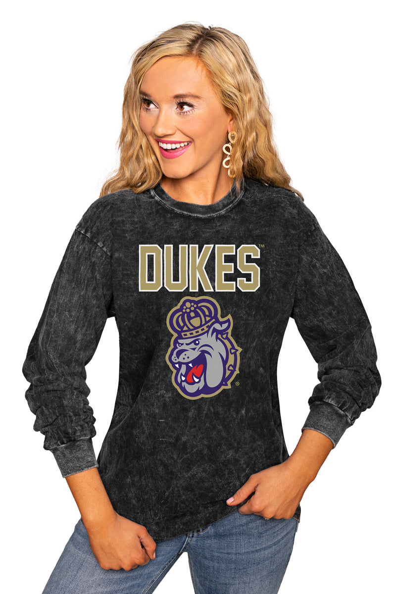 "James Madison Dukes ""Fourth Down"" Retro Mineral Wash Crew - Gameday Couture"