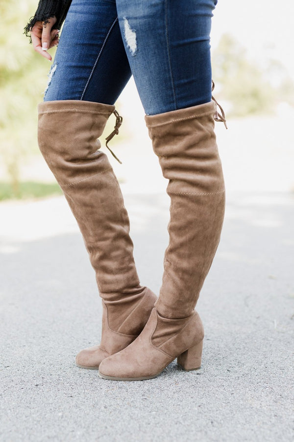 "The ""Just My Stride"" Knee High Boots in Tan - FINAL SALE"