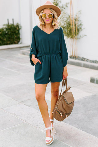 "The ""Keeps Getting Better"" Romper in Blue"