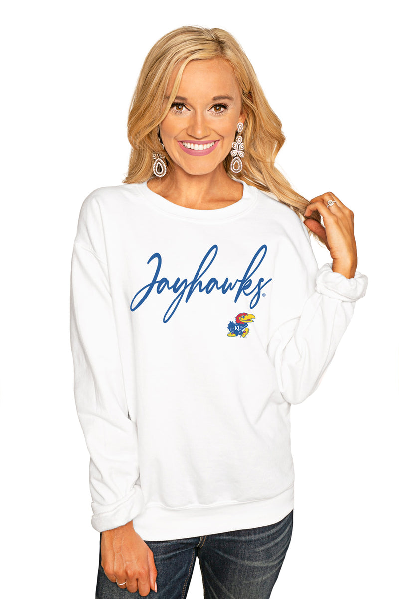 "Kansas Jayhawks ""Win The Day"" Perfect Cozy Crew Sweatshirt - Gameday Couture"