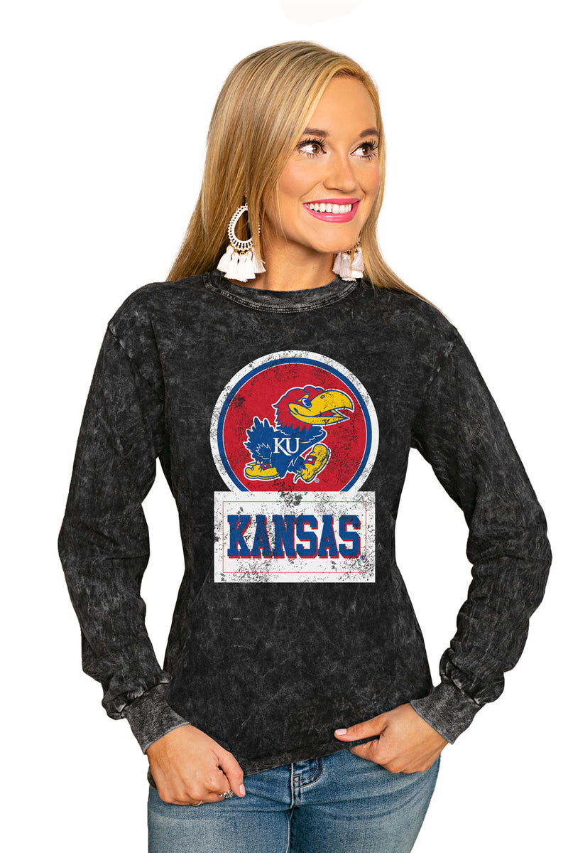 "Kansas Jayhawks ""Good Vibes"" Retro Mineral Wash Crew - Gameday Couture"