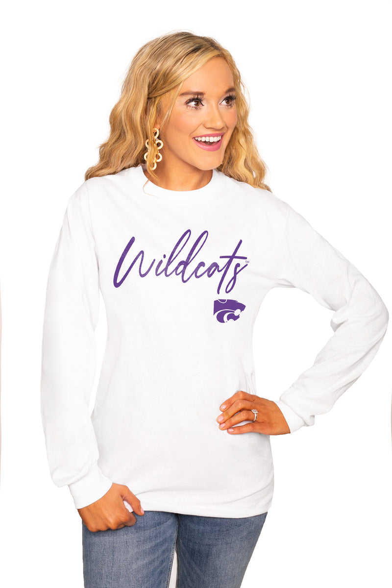 "KANSAS STATE WILDCATS ""WIN THE DAY"" Luxe Boyfriend Crew Tee - Gameday Couture"