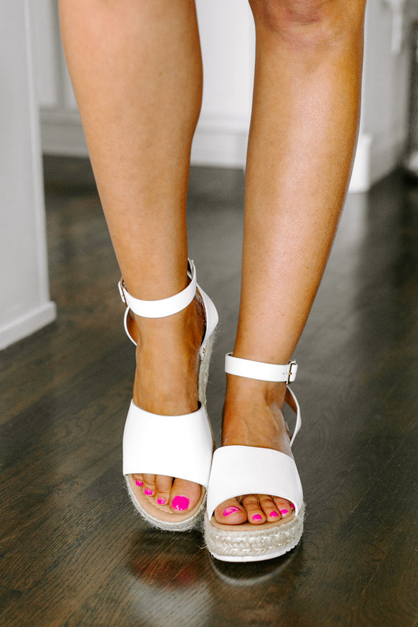 "The ""Uptown Flair"" Platform Sandal in White"