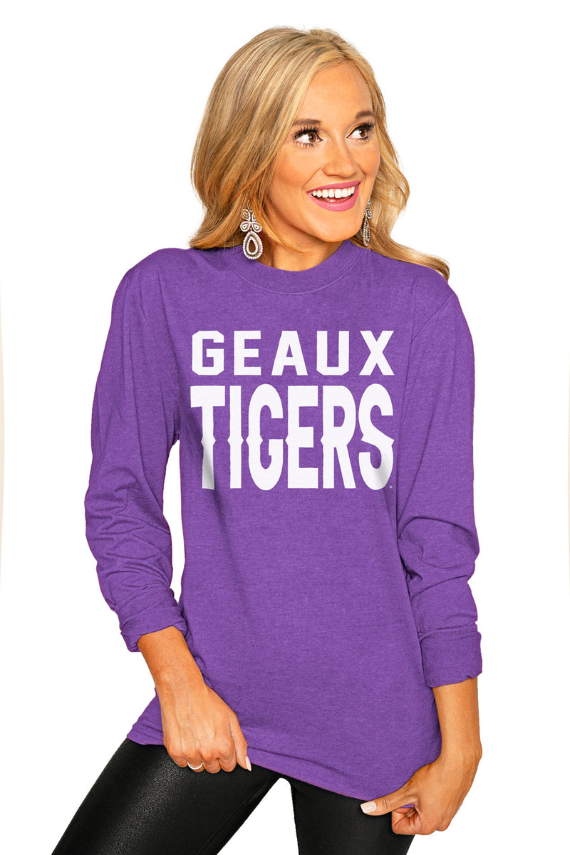 "Lsu Tigers ""Go For It"" Luxe Boyfriend Crew Tee - Gameday Couture"