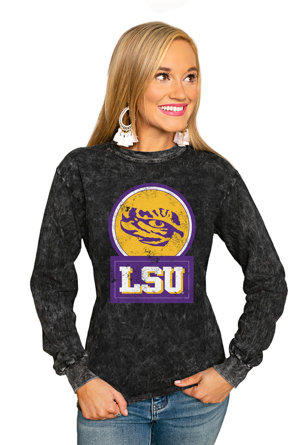 "Lsu Tigers ""Good Vibes"" Retro Mineral Wash Crew - Gameday Couture"