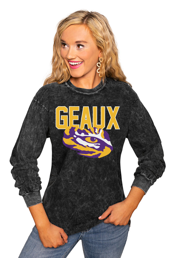 "Lsu Tigers ""Fourth Down"" Retro Mineral Wash Crew - Gameday Couture"