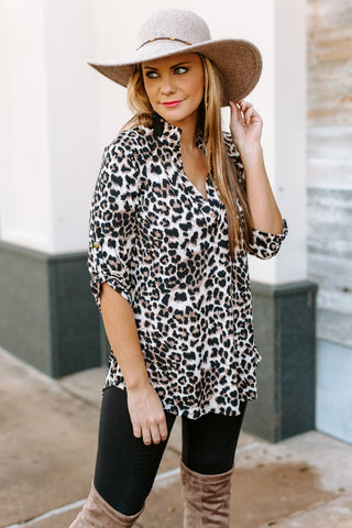 "The ""Leave Her Wild"" Leopard Blouse - FINAL SALE"