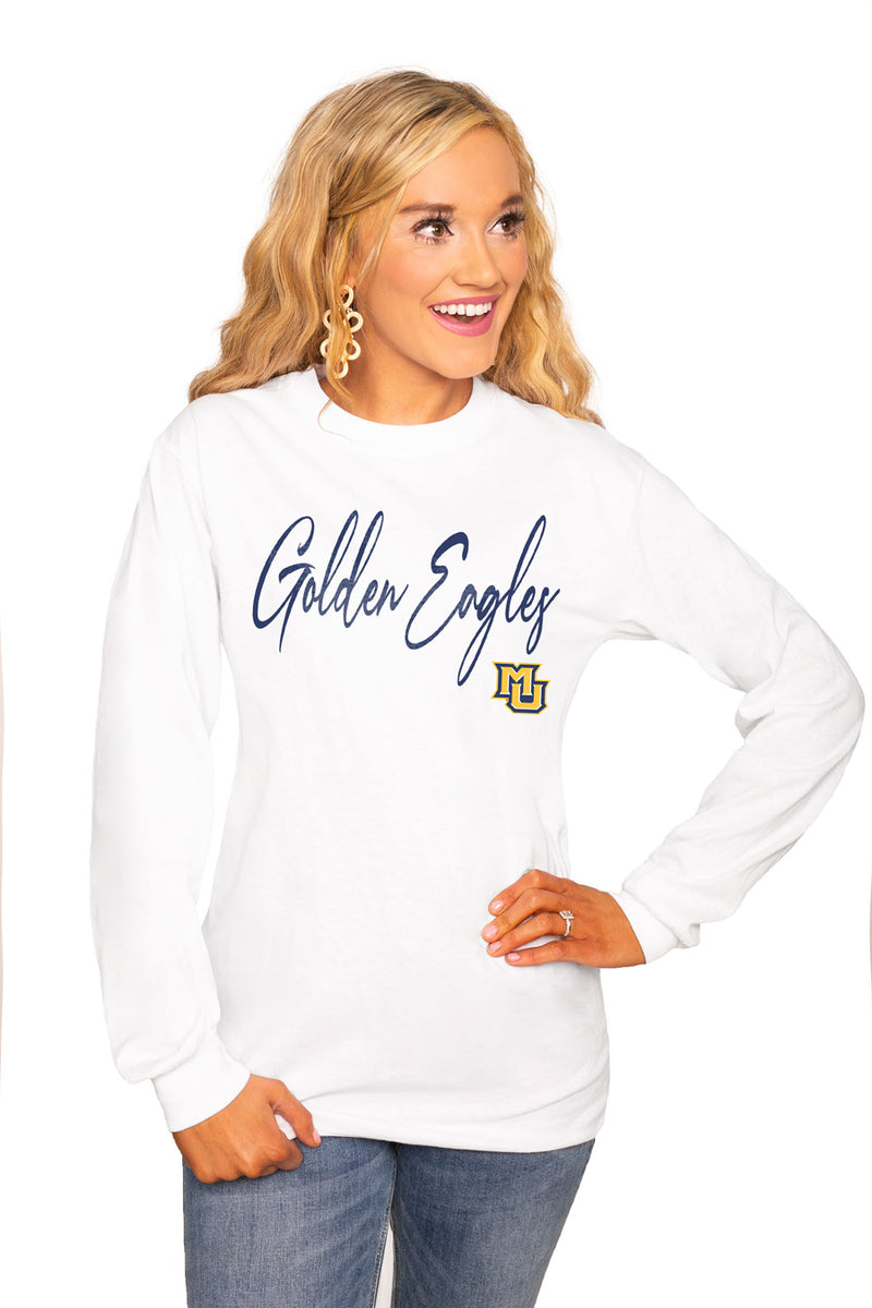 "MARQUETTE GOLDEN EAGLES ""WIN THE DAY"" Luxe Boyfriend Crew Tee - Gameday Couture"