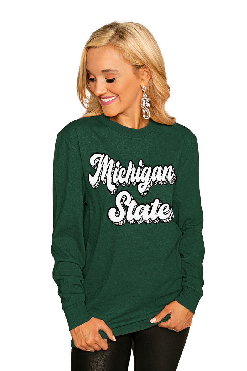 "MICHIGAN STATE SPARTANS""GAME PLAN"" Luxe Boyfriend Crew Tee - Gameday Couture"