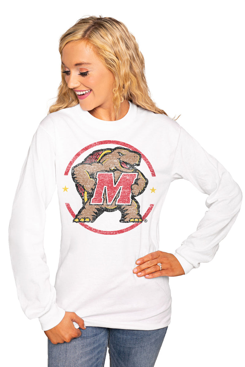 "MARYLAND TERRAPINS ""END ZONE"" Luxe Boyfriend Crew Tee - Gameday Couture"