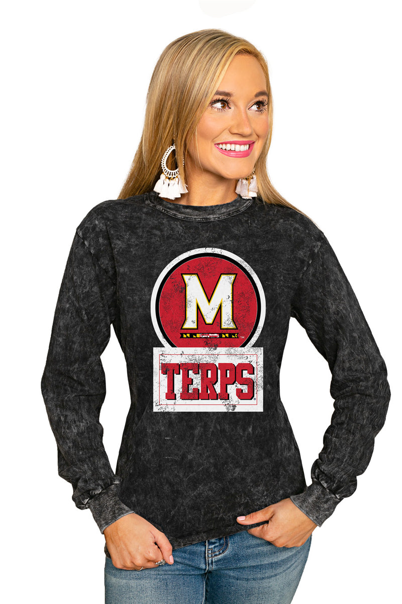 "MARYLAND TERRAPINS ""GOOD VIBES"" RETRO MINERAL WASH CREW - Gameday Couture"