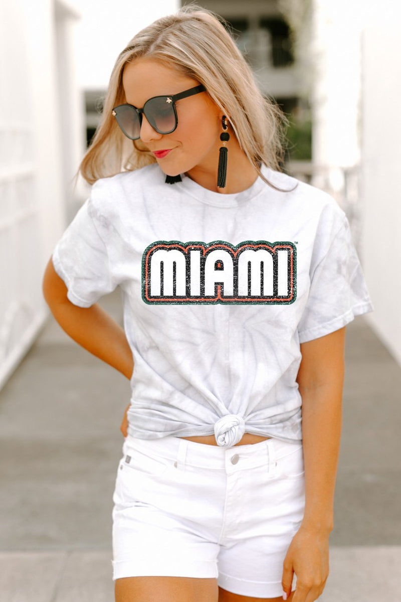 "Miami Hurricanes ""It's a Win"" Watercolor Spin Dye Top - Gameday Couture"
