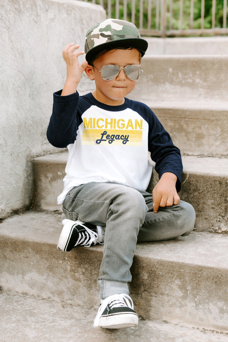 "Michigan Wolverines ""Campus Legacy"" Youth Raglan - Gameday Couture"