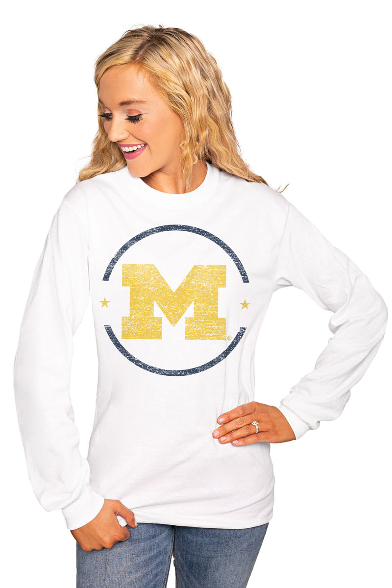 "MICHIGAN WOLVERINES ""END ZONE"" Luxe Boyfriend Crew Tee - Gameday Couture"