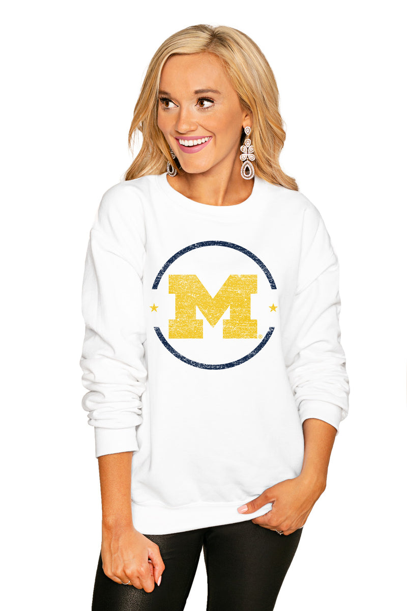 "Michigan Wolverines ""End Zone"" Perfect Cozy Crew Sweatshirt - Gameday Couture"