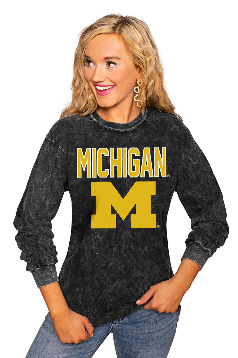 "Michigan Wolverines ""Fourth Down"" Retro Mineral Wash Crew - Gameday Couture"