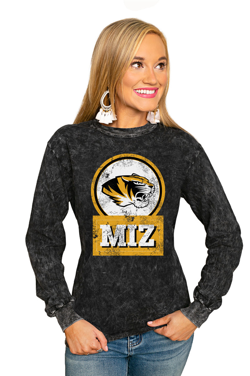 "MISSOURI TIGERS ""GOOD VIBES"" RETRO MINERAL WASH CREW - Gameday Couture"