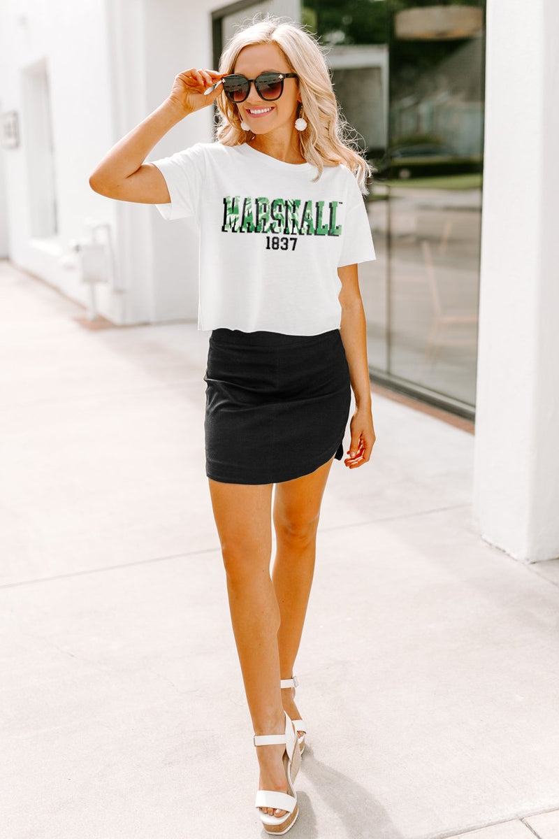 "Marshall Thundering Herd ""No Time to Tie Dye"" Vintage-Vibe Crop Top - Gameday Couture"