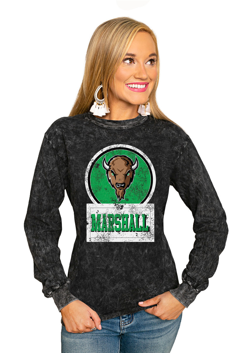 "Marshall Thundering Herd ""Good Vibes"" Retro Mineral Wash Crew - Gameday Couture"