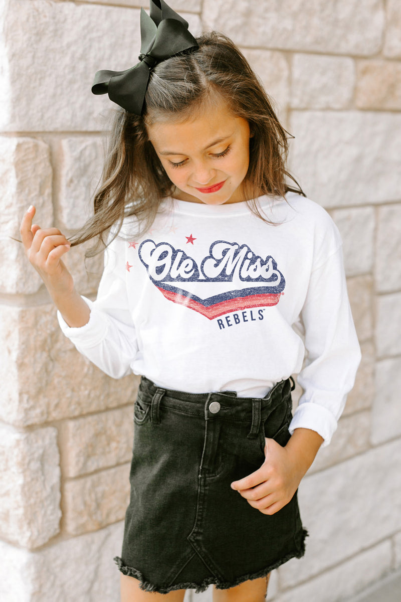 "Ole Miss Rebels ""Vivacious Varsity Star"" Long Sleeve Youth Tee - Gameday Couture"
