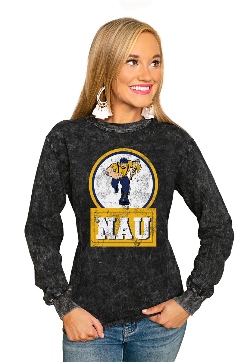 "NORTHERN ARIZONA UNIVERSITY ""GOOD VIBES"" RETRO MINERAL WASH CREW - Gameday Couture"