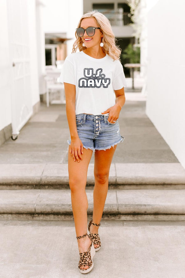 "Navy Midshipmen ""It'S A Win"" Vintage-Vibe Crop Top - Shop The Soho"