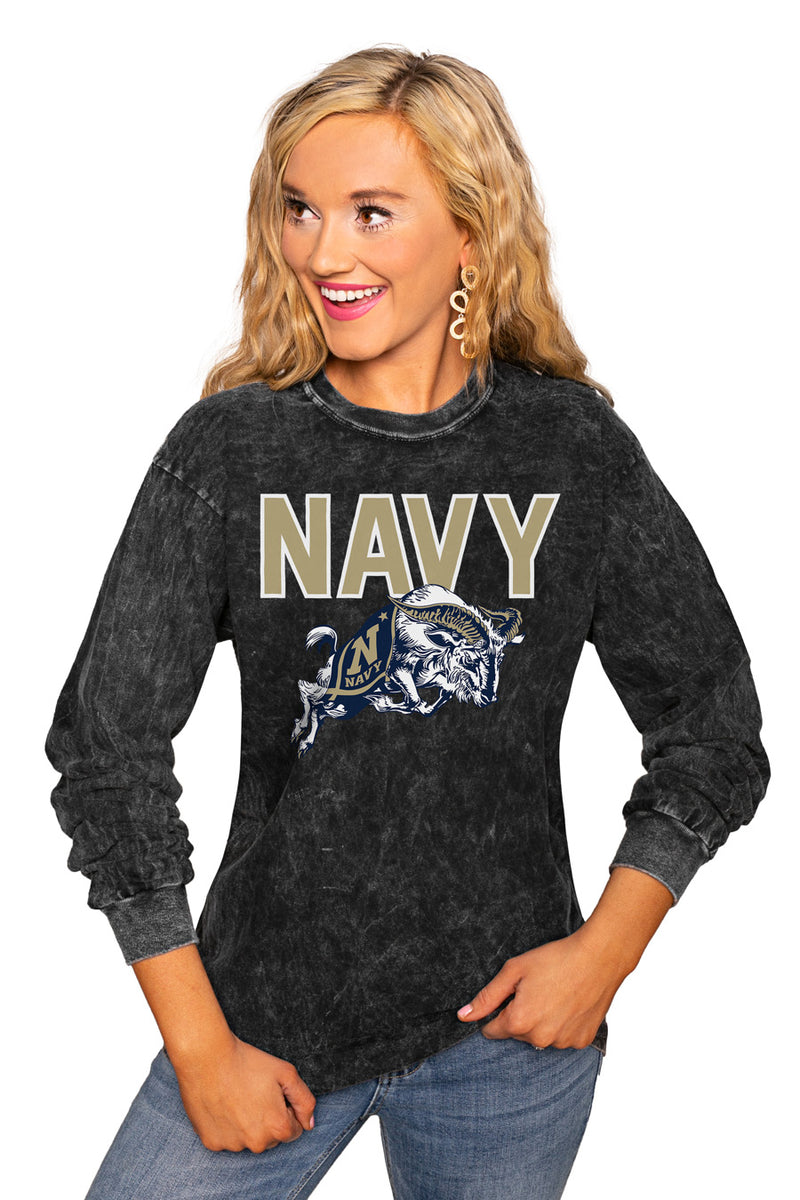 "US NAVY MIDSHIPMEN ""FOURTH DOWN"" RETRO MINERAL WASH CREW - Gameday Couture"