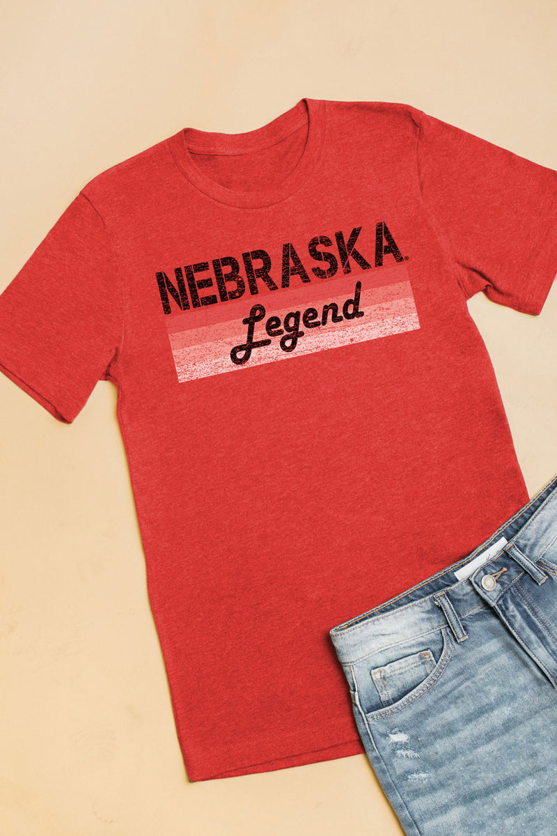 "Nebraska Cornhuskers ""Campus Legend"" Boyfriend Top - Gameday Couture"