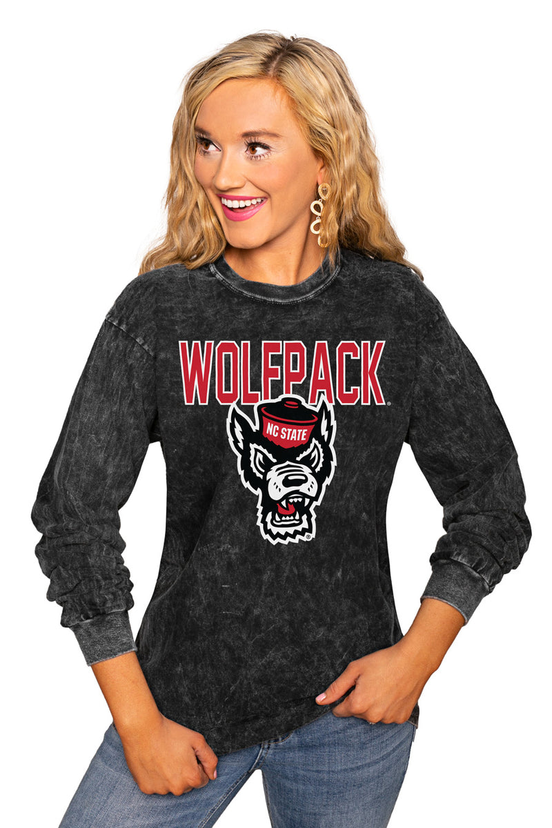"NORTH CAROLINA STATE WOLFPACK ""FOURTH DOWN"" RETRO MINERAL WASH CREW - Gameday Couture"