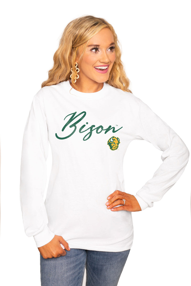 "NORTH DAKOTA STATE BISON ""WIN THE DAY"" Luxe Boyfriend Crew Tee - Gameday Couture"