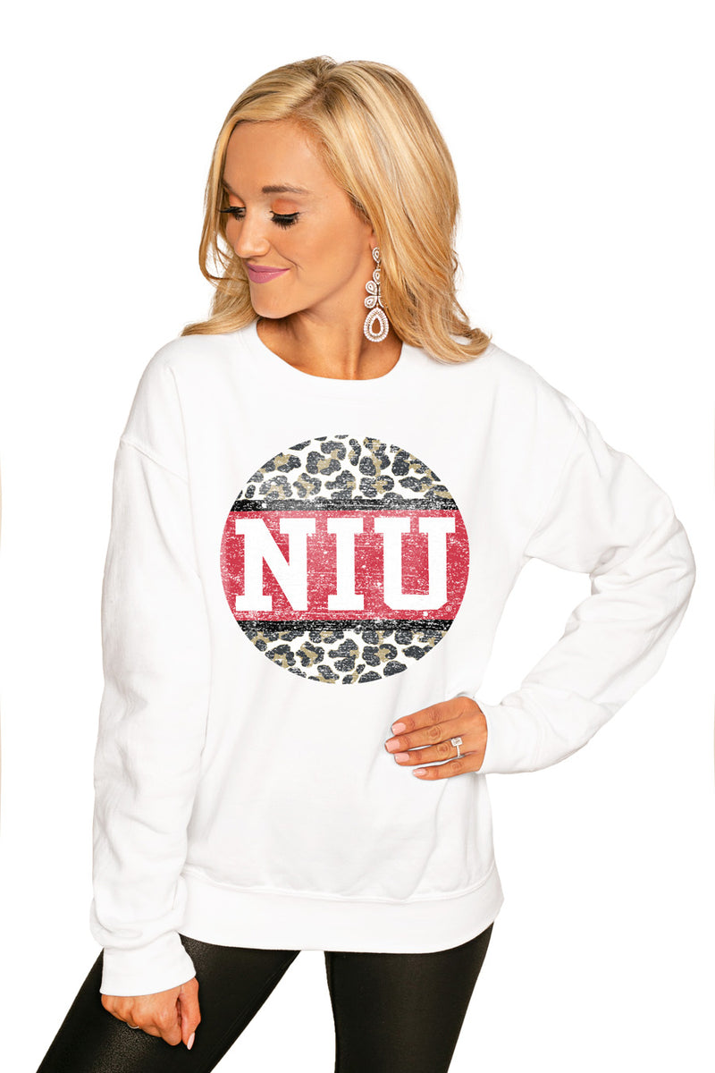 "NORTHERN ILLINOIS HUSKIES ""SCOOP & SCORE"" PERFECT COZY CREW SWEATSHIRT - Gameday Couture"